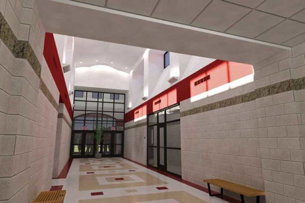 Conceptual rendering of the lobby at the new Central High School in Helena-West Helena, Arkansas