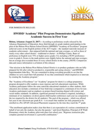 HWHSD_PressRelease_AcademyProgram_FINAL_8-21-17-1